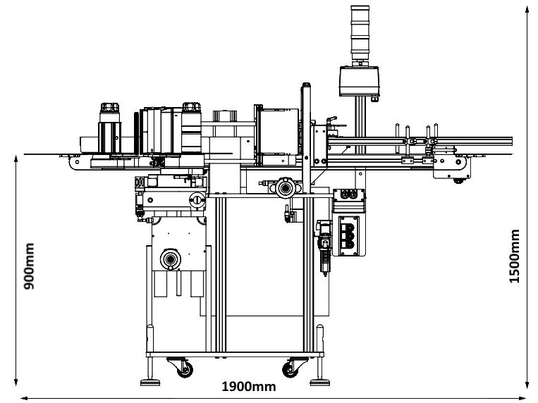 Bảng vẽ kích thước máy dán nhãn chai tròn HLCW-1000R