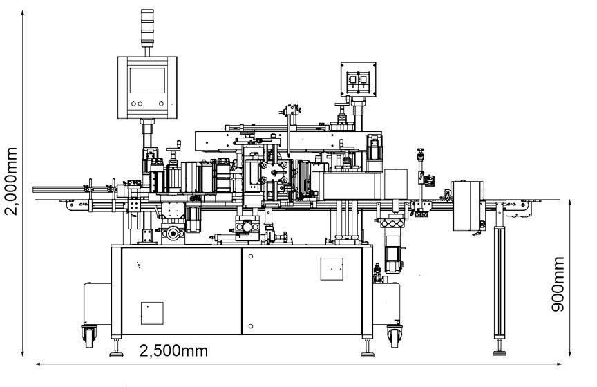 Kích thước máy dán nhãn chai vuông